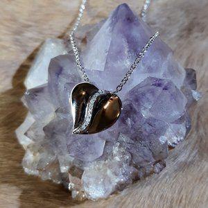 925 SS Diamond Accent Heart Pendant Necklace